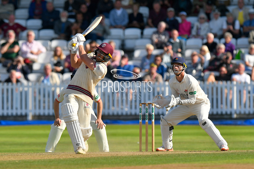 \Wicket - Jack Leach of Somerset goes for a big shot over the top of the fielders and holes out to Tom Bailey of Lancashire off the bowling of Keshav Maharaj of Lancashire during the Specsavers County Champ Div 1 match between Somerset County Cricket Club and Lancashire County Cricket Club at the Cooper Associates County Ground, Taunton, United Kingdom on 5 September 2018.