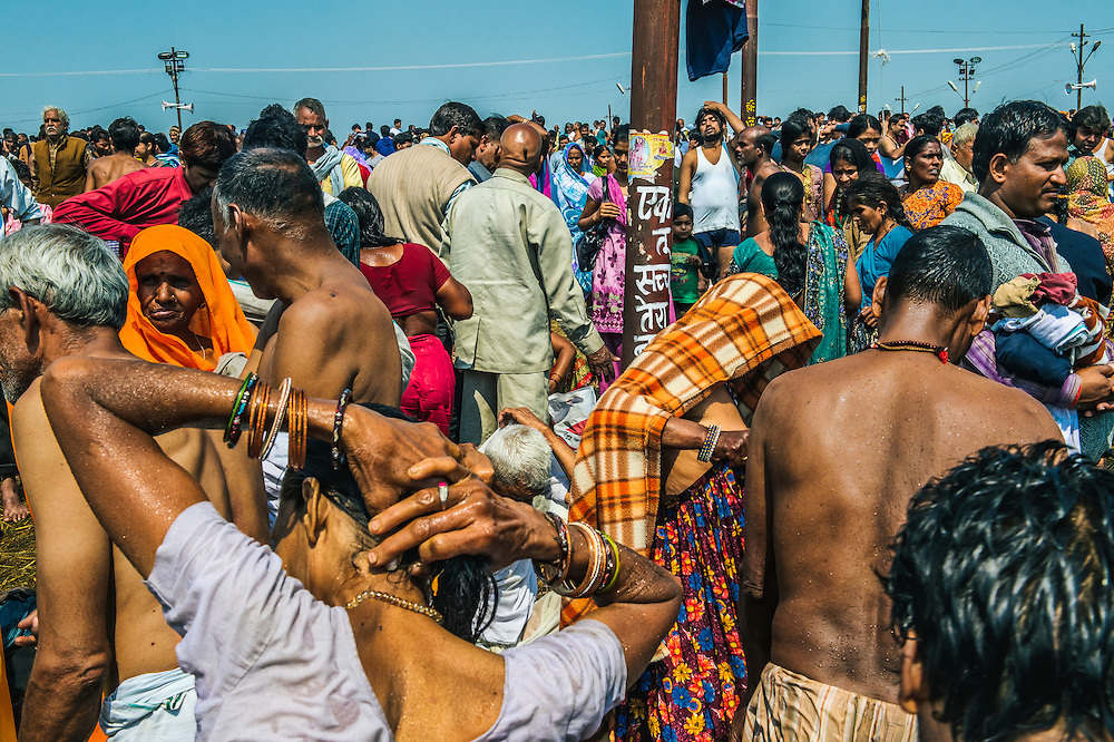 Gathering of people at the Triveni Sangam during the Kumbh Mela in Allahabad.