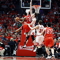 10 May 2011: Chicago Bulls center Omer Asik (3) defends on Atlanta Hawks guard Jeff Teague (0) during the Chicago Bulls 95-83 victory over the Atlanta Hawks, during game 5 of the Eastern Conference semi finals at the United Center, Chicago, Illinois, USA.