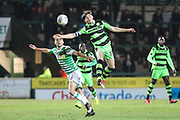 Forest Green Rovers Lewis Spurrier(37) jumps for the ball during the EFL Trophy 3rd round match between Yeovil Town and Forest Green Rovers at Huish Park, Yeovil, England on 9 January 2018. Photo by Shane Healey.