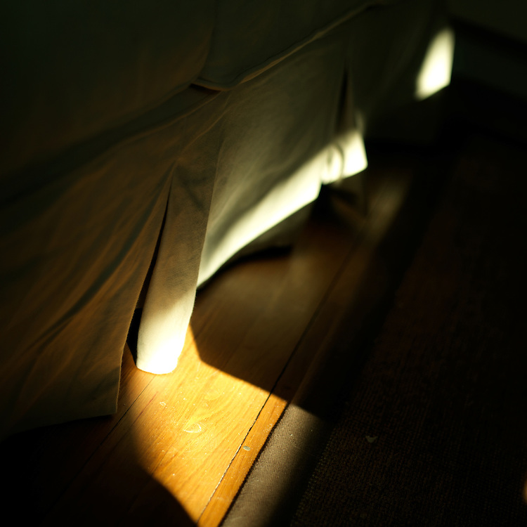 A streak of light hitting the couch skirt
