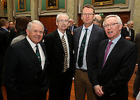 REPRO FREE***PRESS RELEASE NO REPRODUCTION FEE***<br /> Irish Sailing Awards, Royal College of Surgeons, Stephen's Green, Dublin 4/2/2016<br /> National Yacht Club sailor Liam Shanahan was named the 2015 Irish Sailor of the Year today at the Irish Sailing Awards in Dublin - Shanahan had a remarkable year, including victory in the Dun Laoghaire to Dingle race in June on his boat Ruth with two miles to spare.<br /> Kilkenny's Doug Elmes and Malahide's Colin O'Sullivan jointly took home the Irish Sailing Association (ISA) Youth Sailor of the Year award. The Howth Yacht Club sailors were hotly tipped following their recent Bronze medal success at the 2015 Youth World Championships in Malaysia, where they took Ireland's first doublehanded youth worlds medal in 19 years.<br /> The Mitsubishi Motors Sailing Club of the Year award was presented to the Royal Irish Yacht Club in honour of their success at local, national and international level.<br /> Mullingar Sailing Club took home the ISA Training Centre of the Year award, having been nominated as winners of the western-region Training Centre of the Year.<br /> Pictured is David Lovegrove (ISA President), John Treacy (CEO Sport Ireland), Harry Hermon, (CEO ISA), Declan Magee, president of The Royal College of Surgeons.<br /> Mandatory Credit ©INPHO/Cathal Noonan