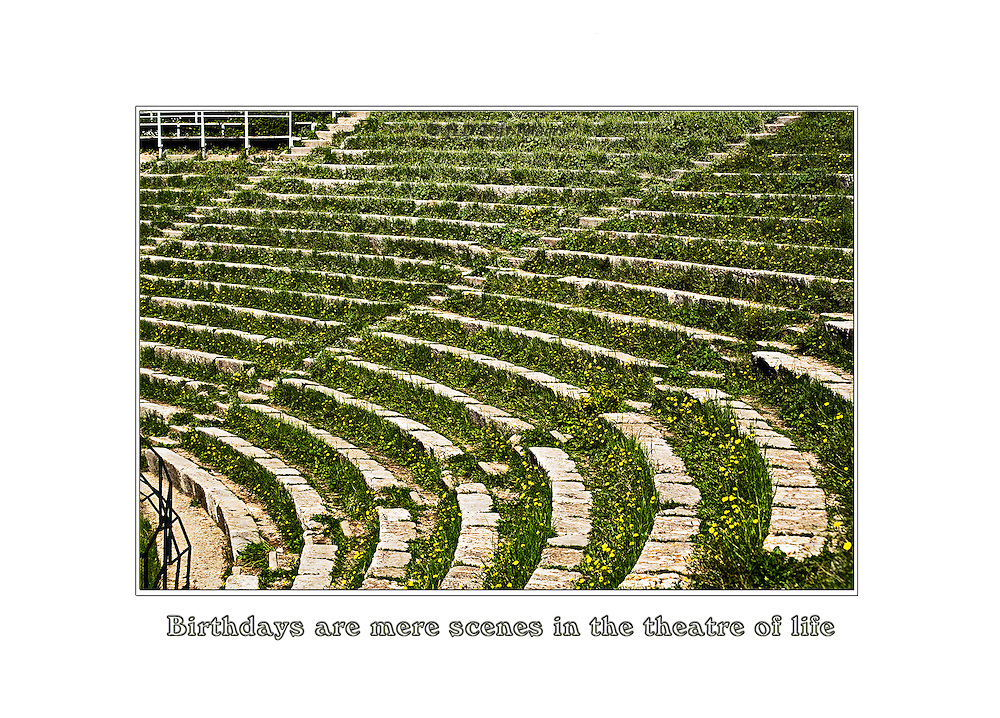 Curving section of the audience at the ancient theater at Taormina, Sicily, Italy.  Bands of grass and stone make a design of parallel curves.