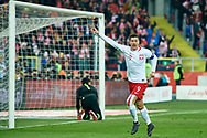 Chorzow, Poland - 2018 March 27: Robert Lewandowski from Poland celebrates after scoring while Poland v South Korea International Friendly Soccer match at Stadion Slaski on March 27, 2018 in Chorzow, Poland.<br /> <br /> Mandatory credit:<br /> Photo by © Adam Nurkiewicz / Mediasport<br /> <br /> Adam Nurkiewicz declares that he has no rights to the image of people at the photographs of his authorship.<br /> <br /> Picture also available in RAW (NEF) or TIFF format on special request.<br /> <br /> Any editorial, commercial or promotional use requires written permission from the author of image.