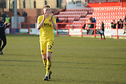 Fleetwood Town defender and goalscorer Harry Souttar (12) applauds the fans during the EFL Sky Bet League 1 match between Accrington Stanley and Fleetwood Town at the Fraser Eagle Stadium, Accrington, England on 30 March 2019.