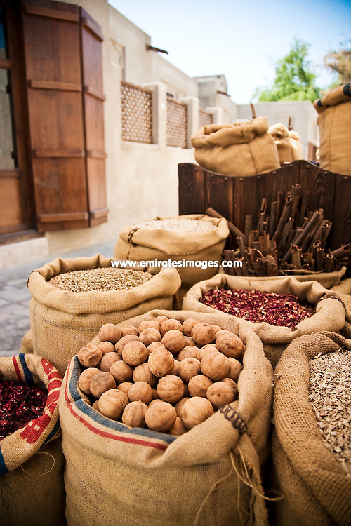 Sacks of spices in the cultural and heritage district of Bastakiya in old Dubai