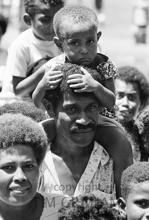 Native people at tribal gathering in Western Samoa, South Pacific