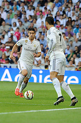 09.05.2015, Estadio Santiago Bernabeu, Madrid, ESP, Primera Division, Real Madrid vs FC Valencia, 36. Runde, im Bild Real Madrid&acute;s James Rodriguez and Cristiano Ronaldo // during the Spanish Primera Division 36th round match between Real Madrid CF and Valencia FC at the Estadio Santiago Bernabeu in Madrid, Spain on 2015/05/09. EXPA Pictures &copy; 2015, PhotoCredit: EXPA/ Alterphotos/ Luis Fernandez<br /> <br /> *****ATTENTION - OUT of ESP, SUI*****