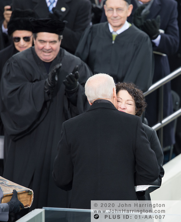 Vice Pesident Biden being congratulated by Supreme Court Justice Sonya Sotamayor after being sworn in during the 57th Presidential Inauguration of President Barack Obama at the U.S. Capitol Building in Washington, DC January 21, 2013.