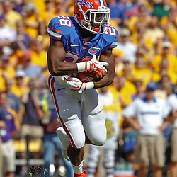 October 8, 2011; Baton Rouge, LA, USA;  Florida Gators running back Jeff Demps (28) runs against the LSU Tigers during the first quarter at Tiger Stadium.  Mandatory Credit: Derick E. Hingle-US PRESSWIRE / © Derick E. Hingle 2011
