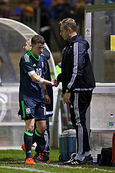 BANGOR, WALES - Tuesday, November 15, 2016: Wales' Nathan Broadhead is congratulated by head Dave Hughes after his hat-trick against Luxembourg during the UEFA European Under-19 Championship Qualifying Round Group 6 match at the Nantporth Stadium. (Pic by David Rawcliffe/Propaganda)