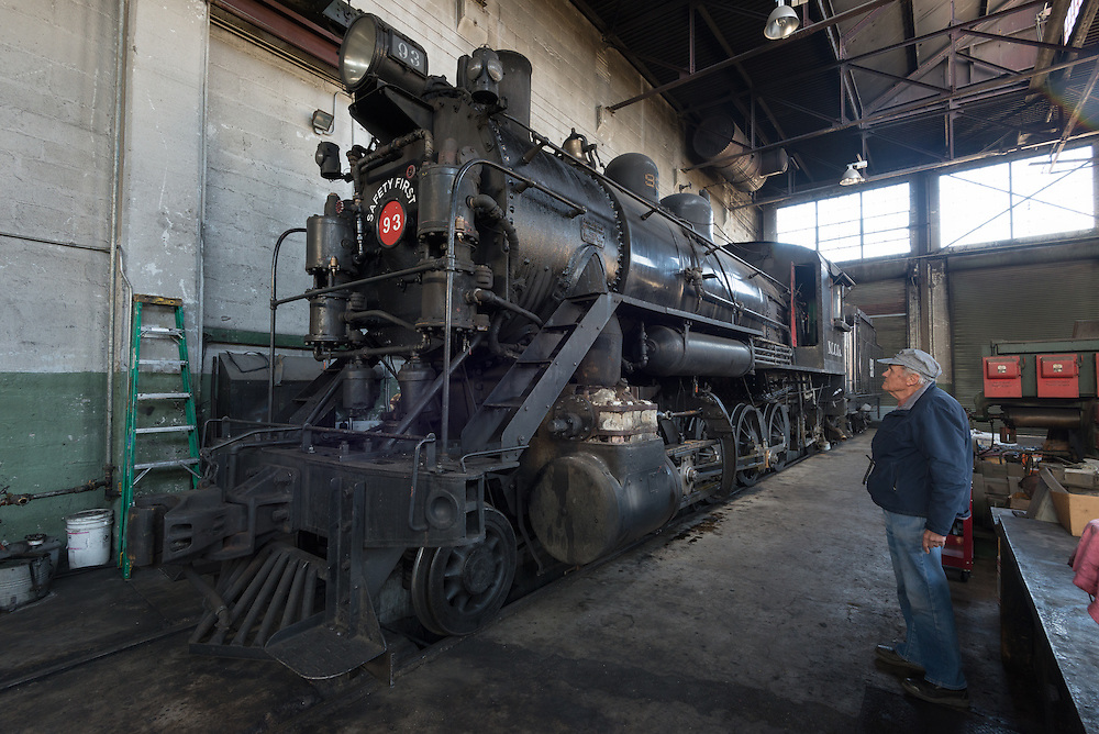 1909 American Locomotive Company steam locomotive in the shop of the historic Nevada Northern Railway in Ely, Nevada.