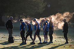 © Licensed to London News Pictures. 24/09/2018. London, UK. Steam bellows out of a group of people exercising on a cold Autumn morning in Hyde Park, central London. Photo credit: Ben Cawthra/LNP