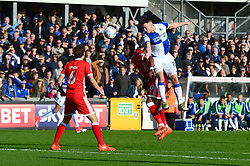 Ollie Clarke of Bristol Rovers challenges for a header with Aaron Tshibola of Milton Keynes Dons - Mandatory by-line: Dougie Allward/JMP - 28/10/2017 - FOOTBALL - Memorial Stadium - Bristol, England - Bristol Rovers v Milton Keynes Dons - Sky Bet League One