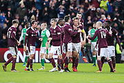 Christophe Berra (#6) of Heart of Midlothian and Don Cowie (#15) of Heart of Midlothian celebrates Heart of Midlothian's first goal (1-0) during the William Hill Scottish Cup 4th round match between Heart of Midlothian and Hibernian at Tynecastle Stadium, Gorgie, Scotland on 21 January 2018. Photo by Craig Doyle.