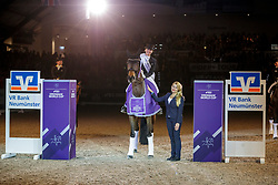 VON BREDOW-WERNDL Jessica (GER), TSF DALERA BB, MILNE Anna (FEI)<br /> Neumünster - VR Classics 2020<br /> - Siegerehrung -<br /> prize giving celebration<br /> FEI Dressage World CupTM presented of the VR Bank Neumünster<br /> CDI-W FEI Grand Prix Freestyle - Dressurprüfung Kl. S**** - international<br /> 16. Februar 2020<br /> © www.sportfotos-lafrentz.de/Stefan Lafrentz