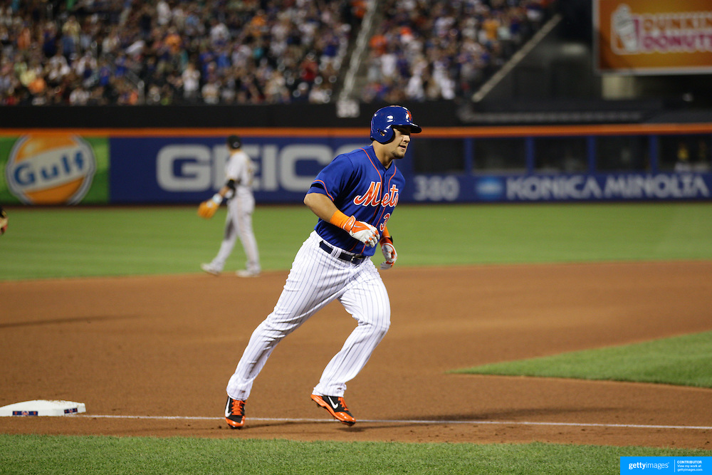 Michael Conforto, New York Mets, runs the bases after his first home run at Citi Field during the New York Mets Vs Pittsburgh Pirates MLB regular season baseball game at Citi Field, Queens, New York. USA. 15th August 2015. Photo Tim Clayton