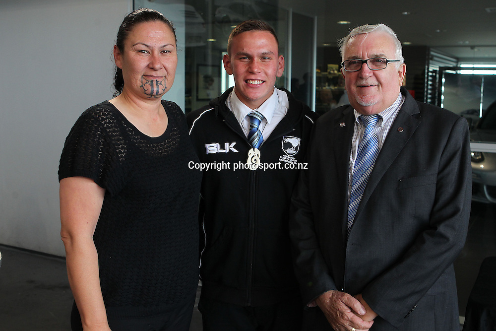 Terry Wilson, left with Luke Tipene and Sir Peter leitch at the NZRL Rugby League Awards 2013 at Giltrap Prestige, Grey Lynn, Auckland on Monday, December 9, 2013. Photo: Fiona Goodall/photosport.co.nz