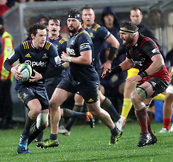 Highlanders Marty Banks, left, looks to beat Crusaders Keiran Reid, right, in the Super Rugby quarter final match, AMI Stadium, Christchurch, New Zealand, July 22 2017.  Credit:SNPA / Adam Binns ** NO ARCHIVING**