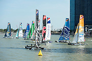 Start line congestion on day three of the Extreme Sailing Series regatta being sailed in Singapore. 22/2/2014