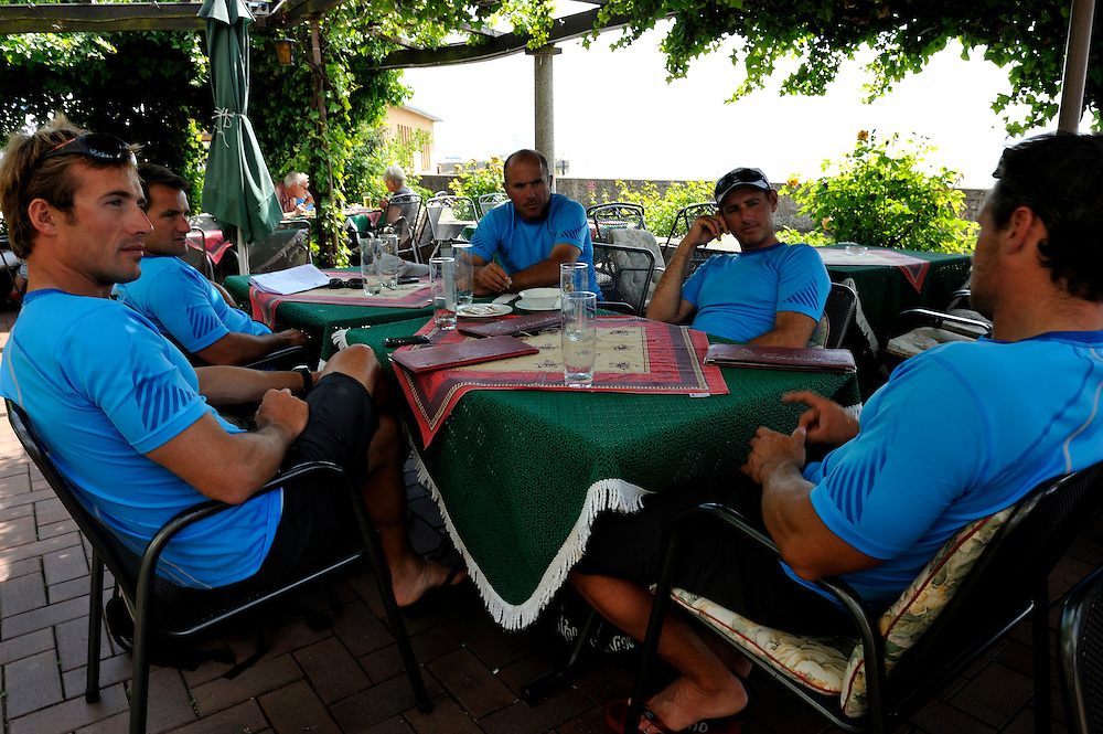 Francesco Bruni and his team relax in a local beer garden in Langenargen. Photo: Chris Davies/WMRT