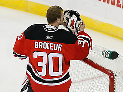 Mar 17, 2009; Newark, NJ, USA; New Jersey Devils goalie Martin Brodeur (30) during the first period of their game against the Chicago Blackhawks at the Prudential Center.