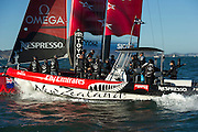 Emirates Team New Zealand between fleet races on day four of the America's Cup World Series, San Francisco. 6/10/2012