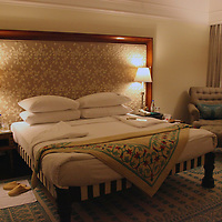 Asia, India, Agra. Room at Oberoi Amarvilas Luxury Hotel.