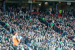 Hibernian fans leave after Falkirk's 3rd goal..Hibernian 4 v 3 Falkirk, William Hill Scottish Cup Semi Final, Hampden Park..©Michael Schofield..