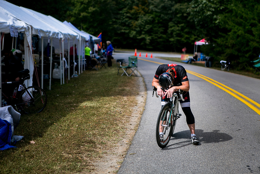 SPOTSYLVANIA, VA - OCTOBER 12, 2016: David Jepson lowers his head in frustration and pain on the third day of the Quintuple Anvil race in Lake Anna State Park in Spotsylvania, Virginia. CREDIT: Sam Hodgson for The New York Times.