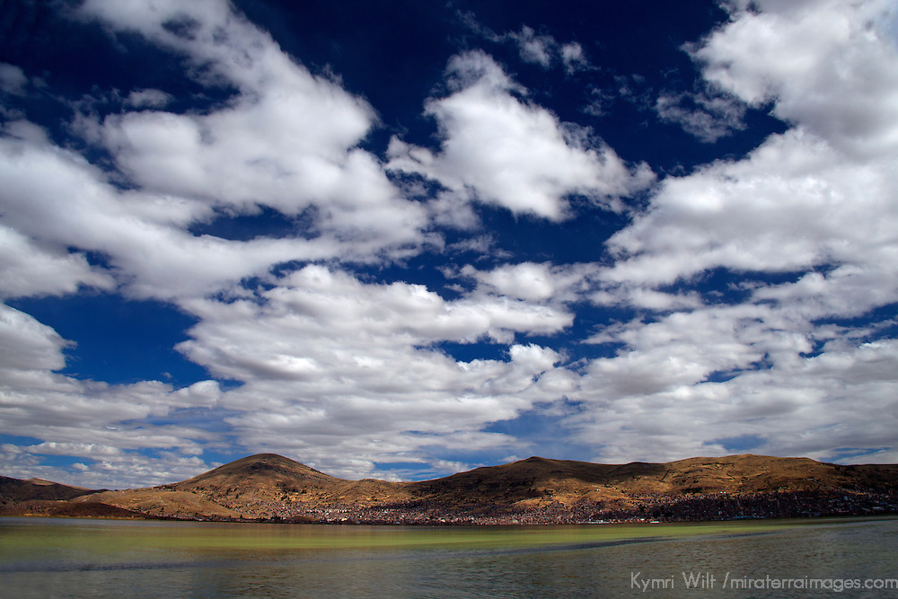 South America, Peru, Lake Titicaca. Cloudscape of Lake Titicaca near Puno.