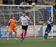 Clyde's (on loan from Dundee) central defender Kerr Waddell heads clear during Forfar's 3-0 win over Clyde in SPFL League Two  at Station Park, Forfar, Photo: David Young<br /> <br />  - &copy; David Young - www.davidyoungphoto.co.uk - email: davidyoungphoto@gmail.com