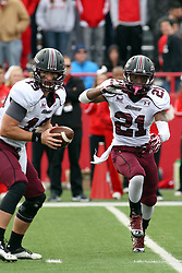 06 October 2012:  Kory Faulkner fakes a hand off to LaSteven McKinney during an NCAA football game between the Southern Illinois Salukis and the Illinois State Redbirds at Hancock Stadium in Normal IL
