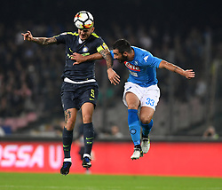 NAPLES, Oct. 22, 2017  Inter Milan's Mauro Icardi (L) vies with Napoli's Raul Albiol during the Serie A soccer match between Inter Milan and Napoli in Naples, Italy, Oct. 21, 2017.  The match ended with a 0-0 tie. (Credit Image: © Alberto Lingria/Xinhua via ZUMA Wire)
