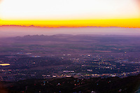 Overview at sunset of the Cedar City area, Utah USA