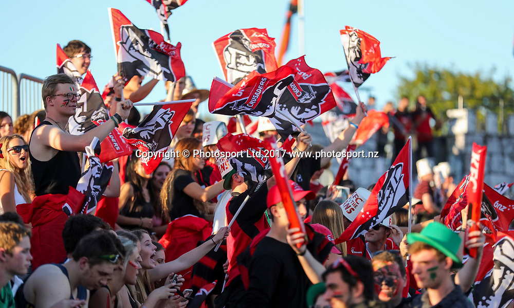 Crusaders fans. Super Rugby, Crusaders v Blues, AMI Stadium, Christchurch, New Zealand. Friday, 17 March, 2017. Copyright photo: John Cowpland / www.photosport.nz