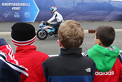 Mar 16, 2013; Harrison, NJ, USA; Kids watch Red Bull street freestyle rider Aaron Colton perform before the game between the DC United and the New York Red Bulls at Red Bull Arena.