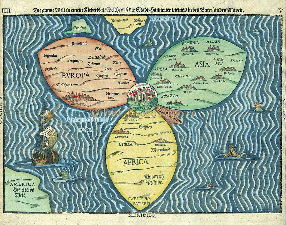 "This ""cloverleaf"" map of the world, with Jerusalem at the centre, was created in 1581. Map by Bünting (1581)."