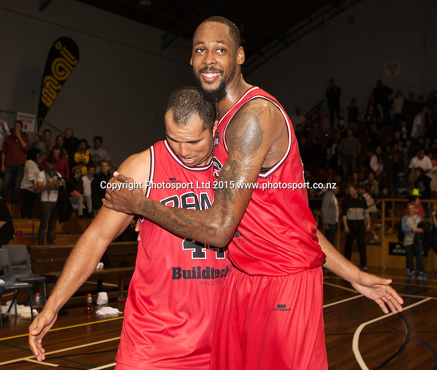 Marques Whippy of the Rams and Mickell Gladness celebrate following the National Basketball League game between the Canterbury Rams v Manawatu Jets at Cowles Stadium in Christchurch. 10th April 2015 Photo: Joseph Johnson/www.photosport.co.nz