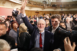 © Licensed to London News Pictures. 20/04/2017. London, UK. Labour Party leader JEREMY CORBYN delivers his first election campaign speech at the Assembly Hall hall in Westminster, London.. Campaigning has begun for a snap election which was called by British Prime Minister Theresa May, earlier this week. Photo credit: Peter Macdiarmid/LNP