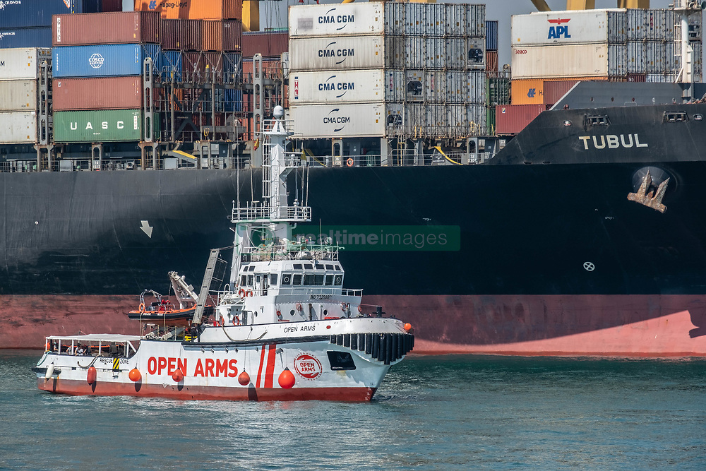 July 4, 2018 - Barcelona, Catalonia, Spain - The rescue boat Proactiva Open Arms has docked in Barcelona with 60 people rescued in the Mediterranean off the coast of Libya. Barcelona has offered itself as a refuge city after Italy's refusal to continue hosting more rescues carried out by NGOs. (Credit Image: © Paco Freire/SOPA Images via ZUMA Wire)