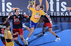 Bozo Rudic (9) and Nejc Poklar (15) at handball match of 4th Round of EHF Men Championsleague between RK Cimos Koper (SLO) and Steaua MFA Bucuresti (ROM), in Arena Bonifika, Koper, Slovenia, on November 8, 2008. Steaua  won the match 30:29.