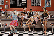 Editorial depiction of fashion designers work.  Post processing into more illustration looking image..whimsical, magical, artwork.  fashion models women ice cream shop boredom posing playboy trendy trending modeling vogue design ..Photos and illustration by Charr Crail, 2011, All Rights Reserved.www.charrcrail.com.916-505-1154..Charr Crail Fractals.Fractal art illustration kaleidascope pattern infinity mathematical..Photo/illustration by Charr Crail, 2011, All Rights Reserved.www.charrcrail.com.916-505-1154..
