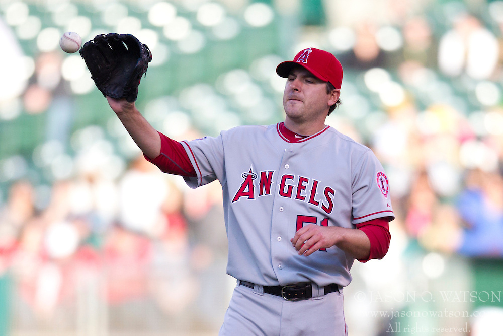 June 9, 2010; Oakland, CA, USA;  Los Angeles Angels starting pitcher Joe Saunders (51) during the first inning against the Oakland Athletics at Oakland-Alameda County Coliseum.