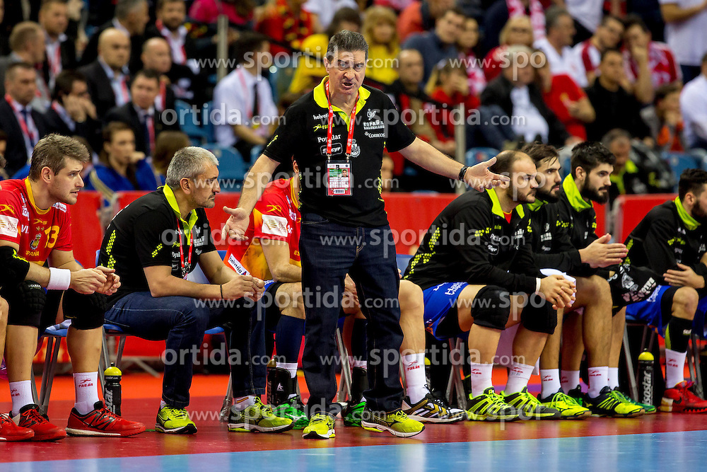 31.01.2016, Tauron Arena, Krakau, POL, EHF Euro 2016, Deutschland vs Spanien, Finale, im Bild Manuel Cadenas Montanes (Trainer) // during the 2016 EHF Euro final match between Germany and Spain at the Tauron Arena in Krakau, Poland on 2016/01/31. EXPA Pictures &copy; 2016, PhotoCredit: EXPA/ Eibner-Pressefoto/ Koenig<br /> <br /> *****ATTENTION - OUT of GER*****
