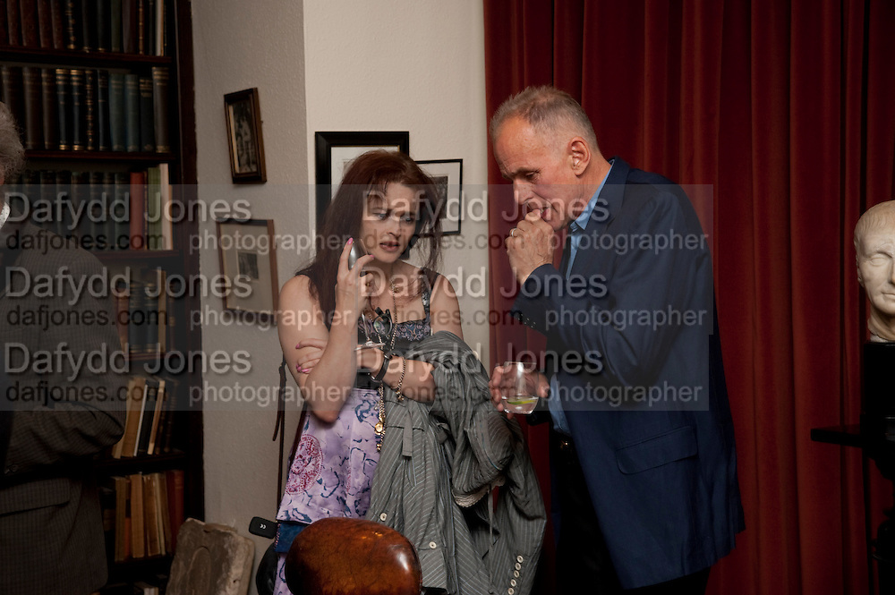 HELENA BONHAM CARTER; JAMES FOX, Freud Museum dinner, Maresfield Gardens. 16 June 2011. <br /> <br />  , -DO NOT ARCHIVE-© Copyright Photograph by Dafydd Jones. 248 Clapham Rd. London SW9 0PZ. Tel 0207 820 0771. www.dafjones.com.