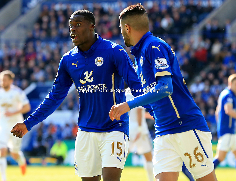 18th April 2015 - Barclays Premier League - Leicester City v Swansea - Jeff Schlupp of Leicester City shouts at the linesman after a poor decision - Photo: Paul Roberts / Offside.