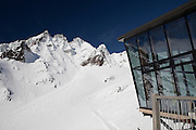 outstanding scenic views of the pinnacles are enjoyed from this glass cafe on mt ruapehu, tongariro national park, new zealand
