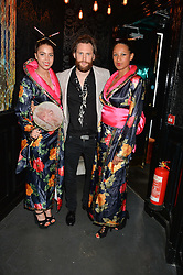 MARC BURTON and Geisha Girls at the launch of Geisha at Ramusake hosted by Piers Adam and Marc Burton at Ramusake, 92B Old Brompton Road, London on 11th June 2015.