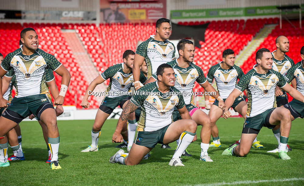 Picture by Allan McKenzie/SWpix.com - 20/10/2013 - Rugby League - Rugby League World Cup Warm Up Game - New Zealand v Cook Islands - Keepmoat Stadium, Doncaster, England - Cook Island's perform their Haka.